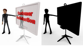 3d man with customer satisfaction sign board concept collections with alpha and shadow channel Royalty Free Stock Photos