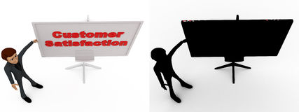 3d man with customer satisfaction sign board concept collections with alpha and shadow channel Royalty Free Stock Photo