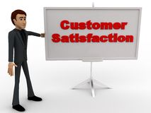 3d man with customer satisfaction sign board concept Stock Images