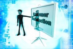 3d man with customer satisfaction sign board illustration Stock Images