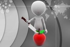 3d man cutting apple Stock Photo