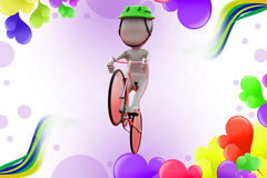 3d man cycle jump  illustration Stock Images