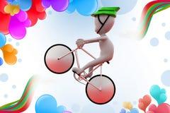 3d man cycle jump  illustration Royalty Free Stock Photo