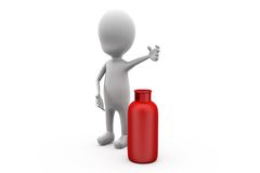 3d man cylinder concept Royalty Free Stock Image