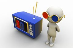 3d man with 3d television Royalty Free Stock Images