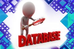 3d man database search illustration Royalty Free Stock Photography
