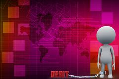 3d man with debit chain illustration Royalty Free Stock Photography