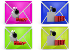 3d man debt bomb icon Stock Photography