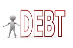 3d man debt concept Royalty Free Stock Photography