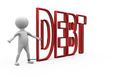 3d man debt concept Royalty Free Stock Images