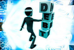 3d man with debt cubes illustration Royalty Free Stock Photos
