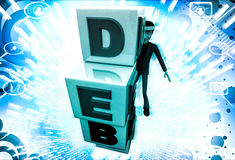3d man with debt cubes illustration Stock Photography