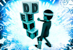 3d man with debt cubes illustration Stock Photo