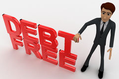 3d man with debt free text concept Royalty Free Stock Photo