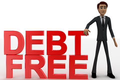 3d man with debt free text concept Stock Photography