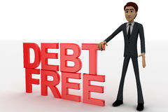3d man with debt free text concept Stock Image