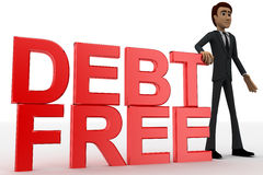 3d man with debt free text concept Royalty Free Stock Images