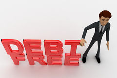 3d man with debt free text concept Royalty Free Stock Image