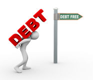 3d man debt free zone. 3d illustration of person caryying word debt toward debt free zone pointed by road sign post.  3d rendering of human people character Royalty Free Stock Images