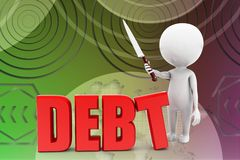 3d man debt illustration Royalty Free Stock Photo