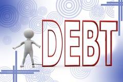 3d man debt illustration Stock Photography