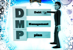 3d man with debt management plan illustration Royalty Free Stock Image
