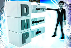 3d man with debt management plan illustration Stock Photo