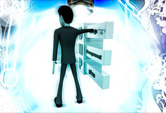 3d man with debt management plan illustration Stock Photography