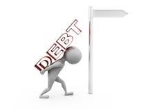 3d man debt sign concept Royalty Free Stock Image