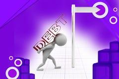 3d man debt sign illustration Stock Images