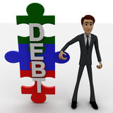 3d man with debt text in puzzle shape concept Royalty Free Stock Images