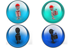 3d man deliver gift icon Stock Images