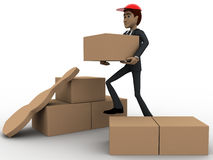 3d man with delivery boxes concept Stock Photos