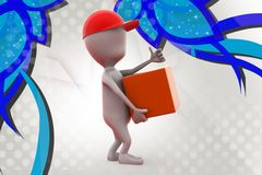 3d man delivery boy  illustration Royalty Free Stock Photography