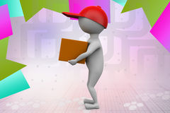 3d man delivery illustration Stock Photography