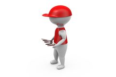 3d man delivery with item concept Royalty Free Stock Photo