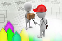 3d man delivery man  illustration Royalty Free Stock Photography