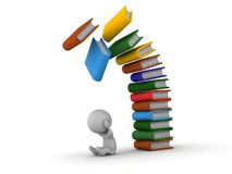 3D Man depressed with books falling over him. Colorful books falling over a 3d guy Royalty Free Stock Images