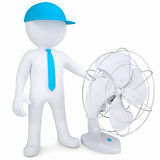 3d man with desktop fan. 3d man with a desktop fan. Isolated render on a white background Royalty Free Stock Image