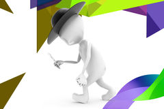 3d man detective  illustration Royalty Free Stock Photos