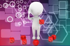 3d man and dice illustration Stock Images