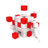 3d man with different blocks. business structure. Concept 3d render illustration Royalty Free Stock Photo
