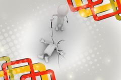 3d man difficult situation illustration Royalty Free Stock Images