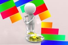 3d Man Digging Coins Illustration Royalty Free Stock Images
