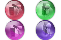 3d man discount cube icon Royalty Free Stock Image