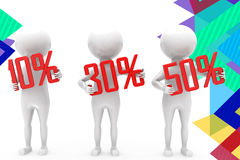 3d man discount percent illustration Royalty Free Stock Photos