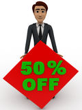 3d man 50% discount sing board concept Stock Images