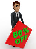 3d man 50% discount sing board concept Royalty Free Stock Photo