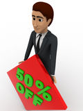 3d man 50% discount sing board concept Royalty Free Stock Images