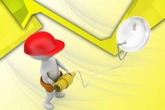 3d man dish antenna illustration Stock Image